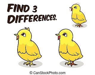 Find differences game chicken vector illustration