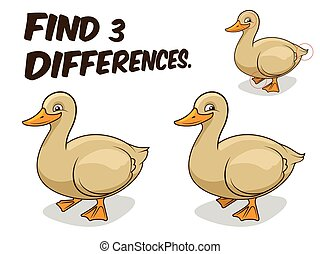 Find differences game duck vector illustration