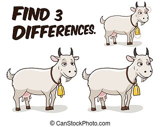 Find differences game goat vector illustration