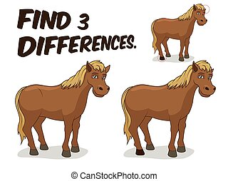 Find differences game horse vector illustration