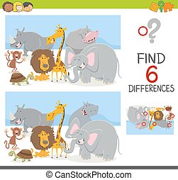 find differences game with animals