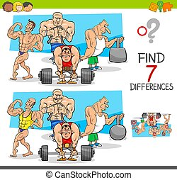 find differences game with athletes sportsmen - Cartoon ...