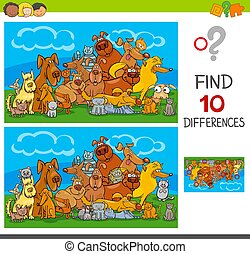 find differences game with cats and dogs