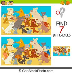 find differences game with dogs and cats
