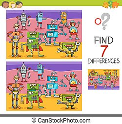 find differences game with robot characters - Cartoon...