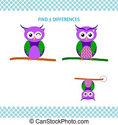 Find differences kids educational game. Cartoon cute owl on branch