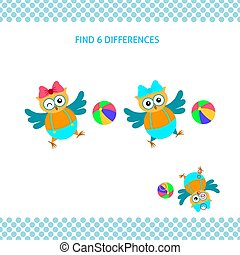 Find differences kids educational game. Cartoon funny smiling owl playing ball