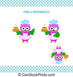 Find differences kids educational game. Cartoon owl-cook with cake