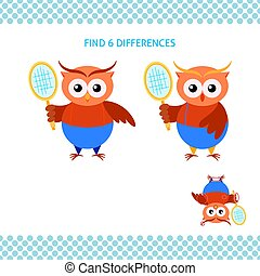 Find differences kids educational game. Funny cartoon owl with tennis racket