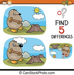 find differences task - Cartoon Illustration of Finding...