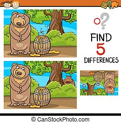 find differences task for kids - Cartoon Illustration of...