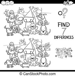 find differences with dogs coloring book - Black and White...