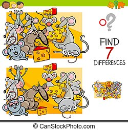 find differences with mice animal characters - Cartoon...