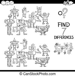 find differences with robots color book - Black and White...