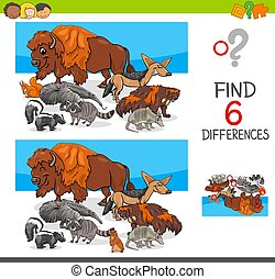 find differences with wild animal characters - Cartoon...