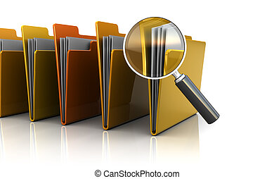 find documents - 3d illustration of documents folders row...