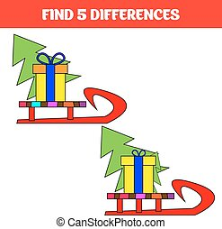 Find five differences. Educational game for children. Funny cartoon. Vector illustration