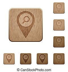 Find GPS map location on rounded square carved wooden button styles