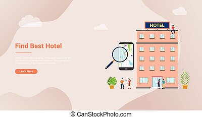 find hotel or search hotels concept for website template banner or landing homepage with modern flat style - vector