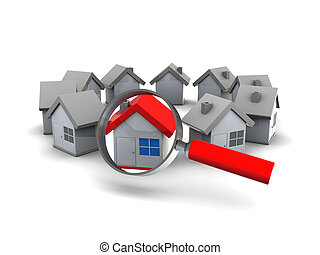 find house - 3d illustration of houses ring and magnify...