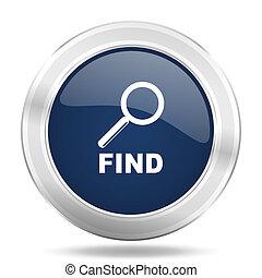 find icon, dark blue round metallic internet button, web and mobile app illustration