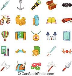 Find icons set, cartoon style - Find icons set. Cartoon set...