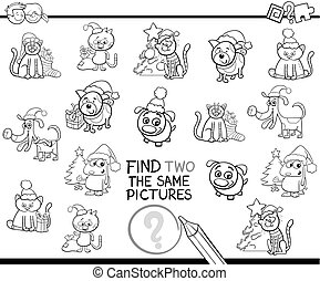 find identical items coloring page with Xmas pets - Black...