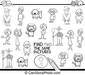 find identical pictures for coloring - Black and White ...