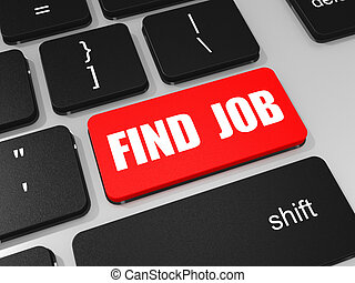 FIND JOB key on keyboard of laptop computer. 3D illustration...