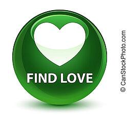 Find love glassy soft green round button