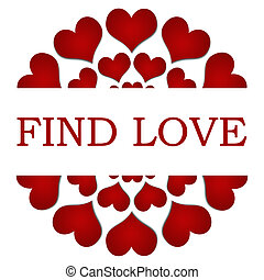 Find Love Red Hearts Circular