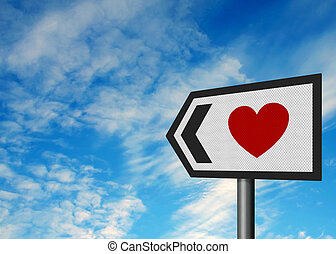 Photorealistic metallic reflective roadsign, depicting a heart - concept of finding love