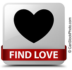 Find love white square button red ribbon in middle