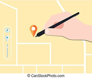 find map concept flat design, vector