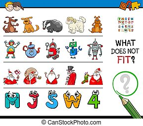 find mismatched picture in a row educational activity
