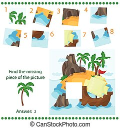 Find missing piece - Puzzle game for Children - Tropical Island and Ship