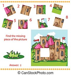 Find missing piece - Puzzle game for Children with cartoon...