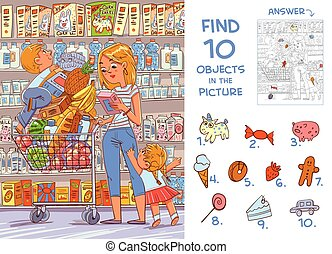 Find objects in the picture. Mother and two young children are shopping in a supermarket