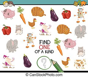 find one of a kind activity - Cartoon Illustration of...
