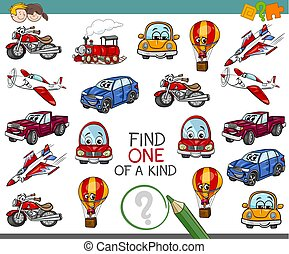 find one of a kind activity - Cartoon Illustration of Find...