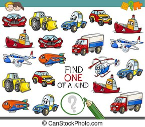 find one of a kind activity game - Cartoon Illustration of...