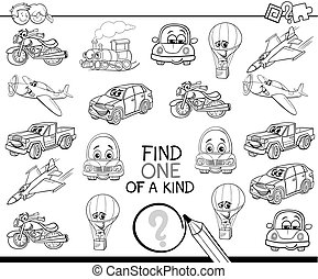 find one of a kind coloring book - Black and White Cartoon...