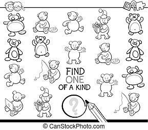 find one of a kind coloring book with bears - Black and...