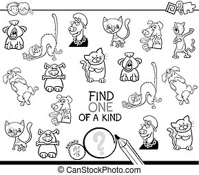 find one of a kind game coloring book - Black and White...