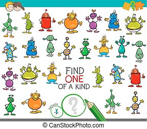 find one of a kind game with aliens characters - Cartoon...