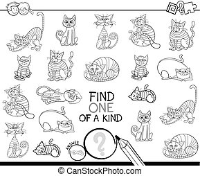 find one of a kind game with cats coloring book - Black and...