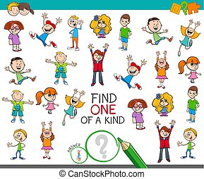 find one of a kind game with happy children