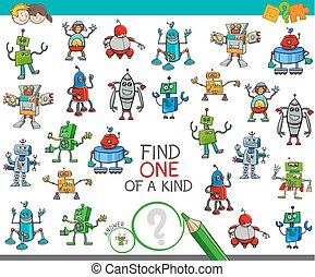find one of a kind game with robot characters