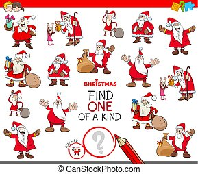 find one of a kind game with Santa Characters