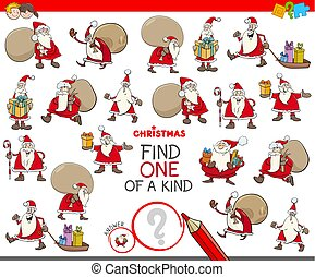 find one of a kind game with Santa Claus characters